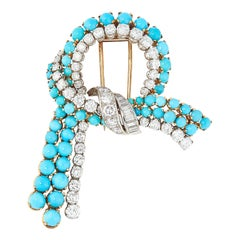 Vintage Turquoise and Diamond Bow Brooch, circa 1960