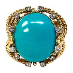 Vintage Turquoise and Diamond Gold Ring