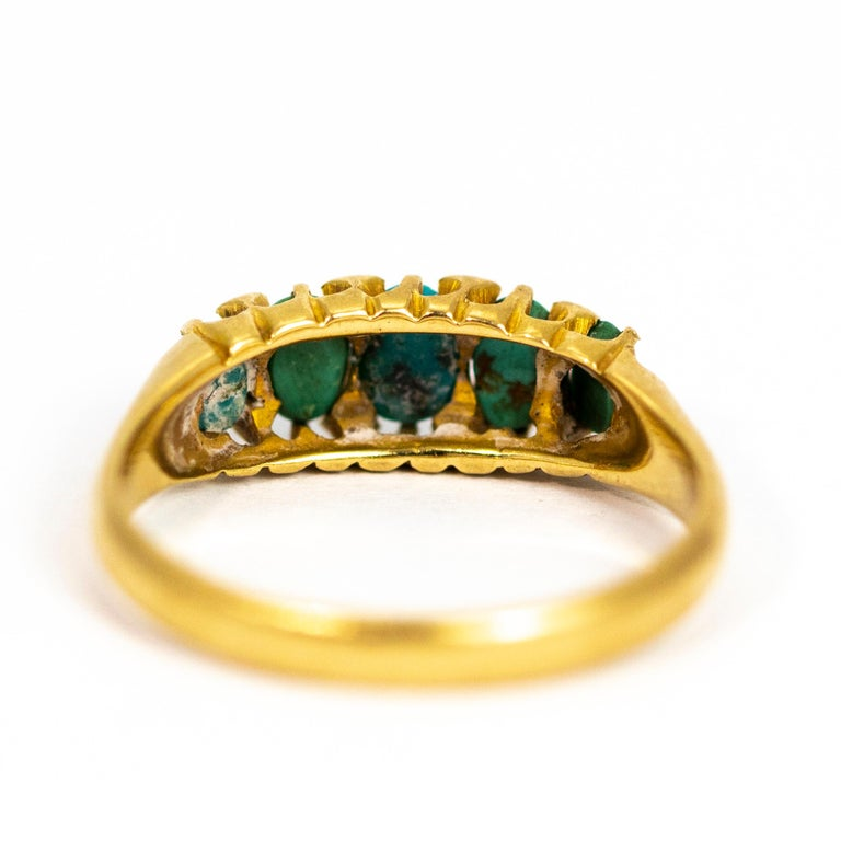 Vintage Turquoise and Diamond Point Five-Stone 18 Carat Ring In Good Condition For Sale In Chipping Campden, GB