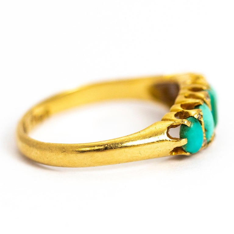 Women's or Men's Vintage Turquoise and Diamond Point Five-Stone 18 Carat Ring For Sale