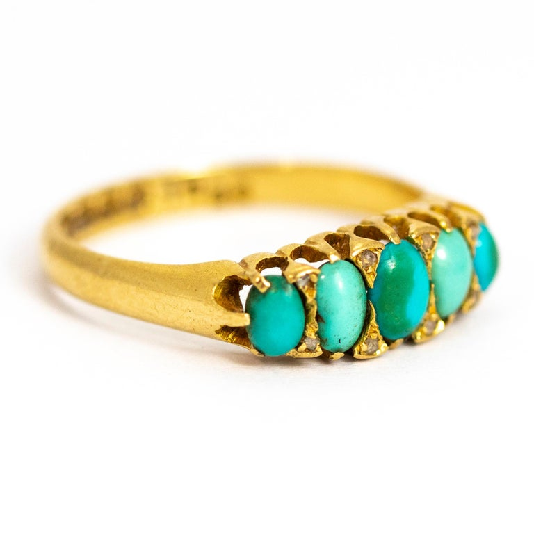Vintage Turquoise and Diamond Point Five-Stone 18 Carat Ring For Sale 1