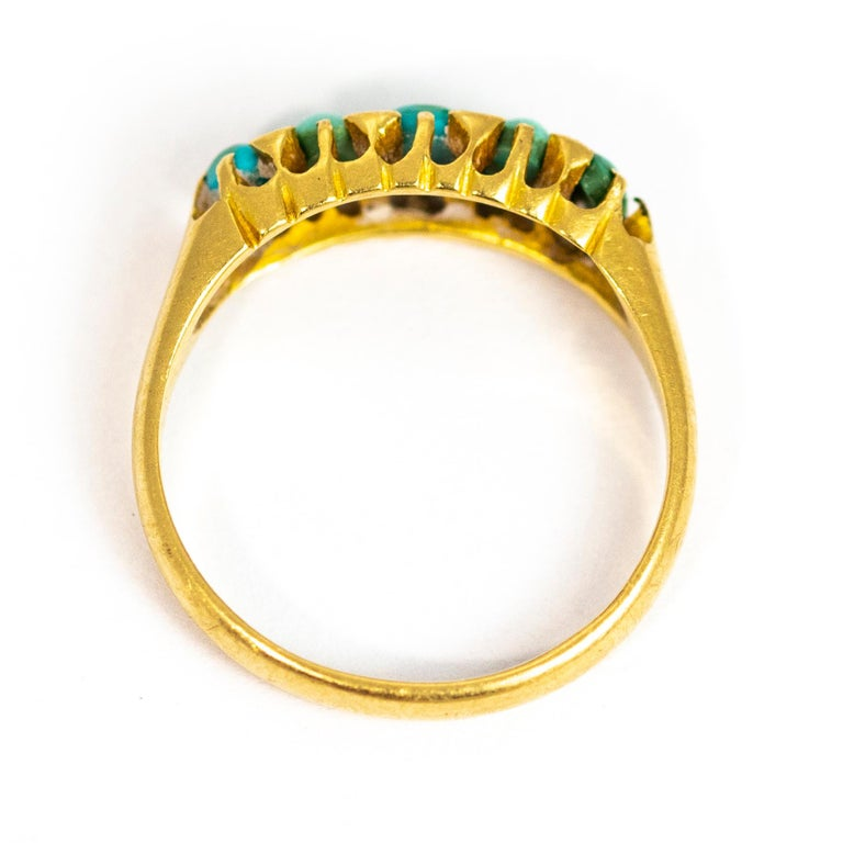 Vintage Turquoise and Diamond Point Five-Stone 18 Carat Ring For Sale 2