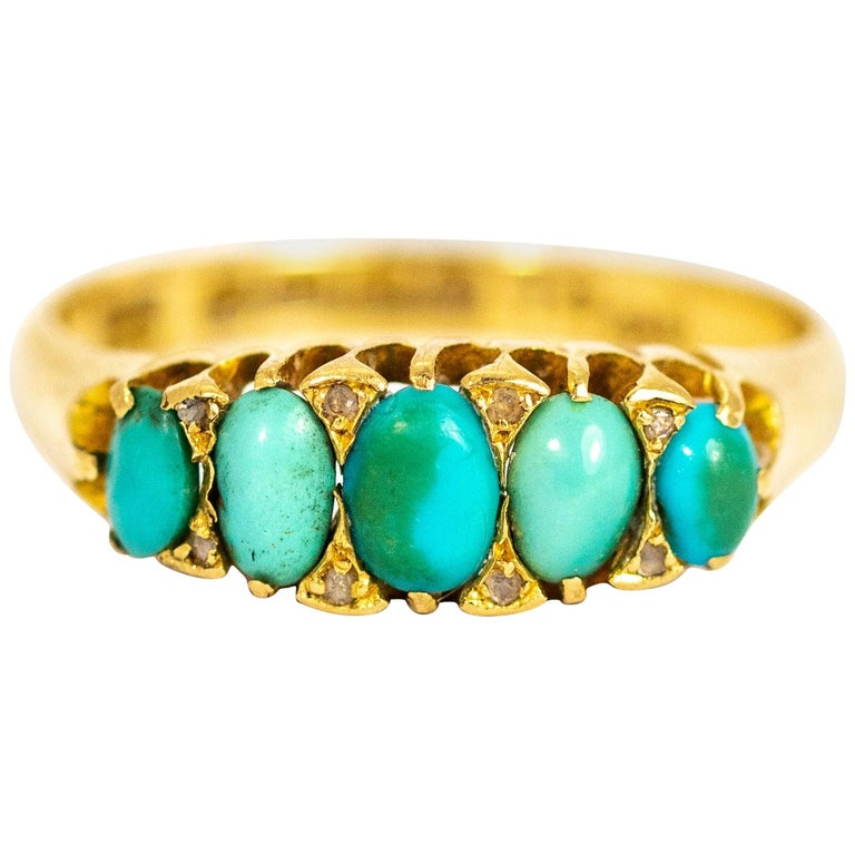 Vintage Turquoise and Diamond Point Five-Stone 18 Carat Ring For Sale