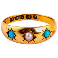 Vintage Turquoise and Pearl 15 Carat Gold Three-Stone Gypsy Ring