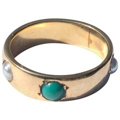 Vintage Turquoise and Pearl 18 Carat Gold Band