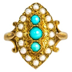 Vintage Turquoise and Pearl 9 Carat Gold Navette Ring