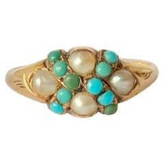 Vintage Turquoise and Pearl 9 Carat Gold Ring
