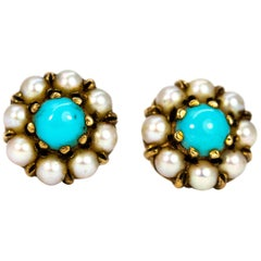 Vintage Turquoise and Pearl Yellow Gold Cluster Earrings