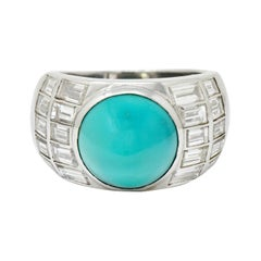 Vintage Turquoise Cabochon 2.50 Carats Diamond Platinum Band Ring