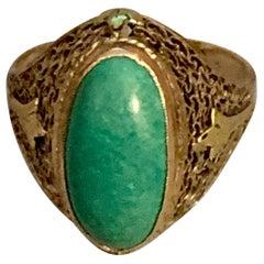 Vintage Turquoise Cabochon Filigree 10 Karat Yellow Gold Ring
