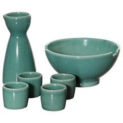 Vintage Turquoise Ceramic Sake Set