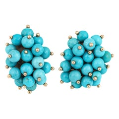 Vintage Turquoise Cluster Earrings 14 Karat Gold Clip-On Estate Fine Jewelry