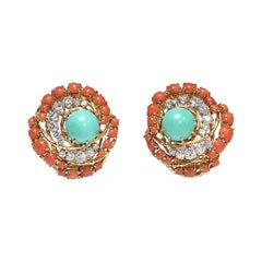 Vintage Turquoise, Coral and Diamond Ear Clips