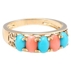 Vintage Turquoise Coral Ring 14 Karat Yellow Gold Estate Fine Jewelry Band