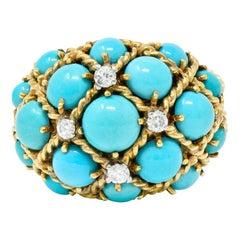 Vintage Turquoise Diamond 14 Karat Gold Cluster Bombè Band Ring