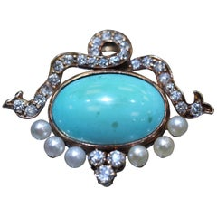 Vintage Turquoise Diamond and Pearl Brooch/Pendant in 14 Karat Yellow Gold