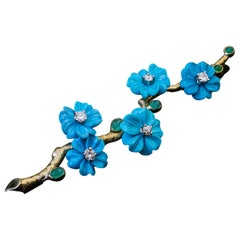 Vintage Turquoise Diamond Emerald Gold Flower Brooch