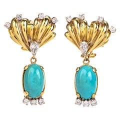 Vintage Turquoise Diamond Gold Dangle Detachable Drop Earrings