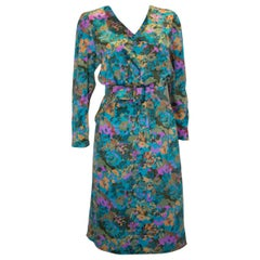 Vintage Turquoise Floral Silk /Satin  Dress