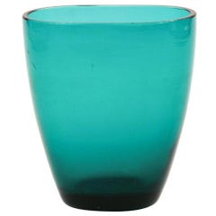 Vintage Turquoise Glass Vase, Northern Europe, 1970s