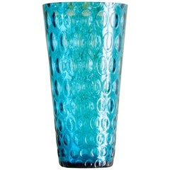 Vintage Turquoise Glass Vase with Oval Imprints, France, Mid-20th Century