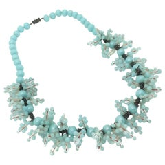 Vintage Turquoise Handmade Bobble Glass Necklace 1930s
