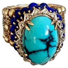 Vintage Turquoise, Lapis and Diamond 14 Karat Yellow Gold Ring