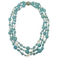 Vintage Turquoise Murano Art Glass Statement Beaded Necklace 1950s