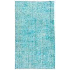 Vintage Turquoise Overdyed Wool Rug, Shabby Chic
