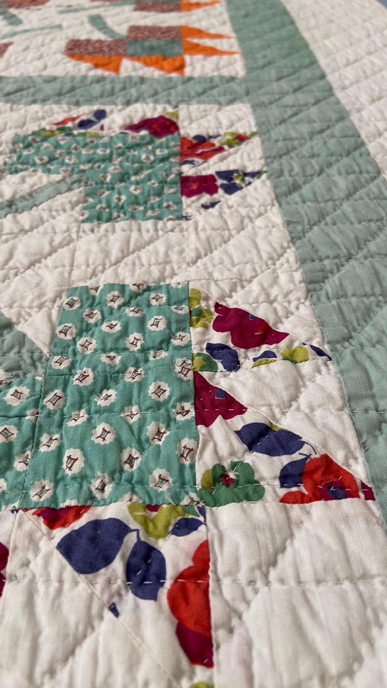 Mid-20th Century Vintage Turquoise Patchwork