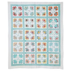 "Vintage Turquoise Patchwork ""Autumn Leaf Signature Friendship"" Quilt, USA, 1930s"