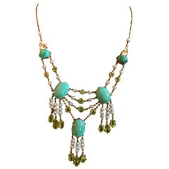 Vintage Turquoise, Peridot and Pearl 14 Karat Gold Necklace