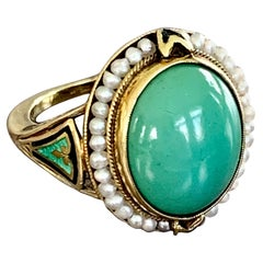 Vintage Turquoise, Seed Pearl and Enamel 14 Karat Yellow Gold,  As Is