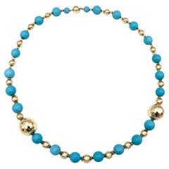 Vintage Turquoise Yellow Gold Bead Necklace