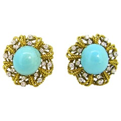 Vintage Turquoises Diamonds Twisted Yellow Gold Clips Earrings