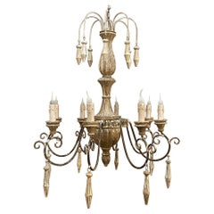 Vintage Tuscan Whitewashed Wood & Wrought Iron Chandelier