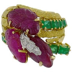 Vintage Tutti-Frutti Gold Ring Diamond Emerald Carved Ruby, 1950s