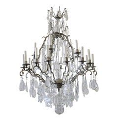 Vintage Twenty-Light Chandelier with Silvered Finish and Large Glass Crystals