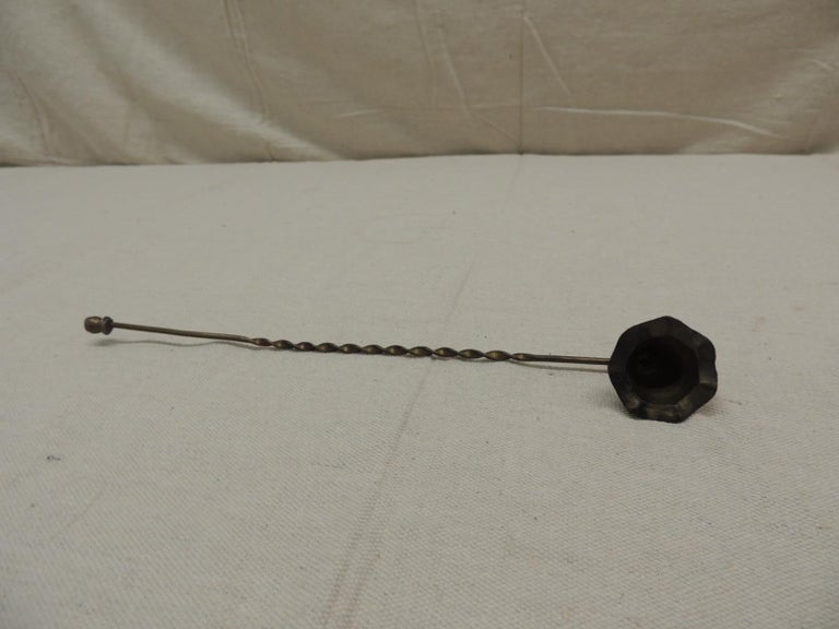 Hand-Crafted Vintage Twisted Handle Brass Snuffer For Sale