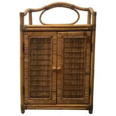 Vintage Two-Door Bamboo and Rattan Bar Cabinet