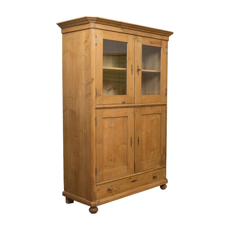 Vintage Two-Door Bookcase, Cabinet, French, Pine, Mid-20th Century, circa 1960 For Sale