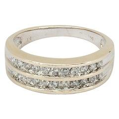 Vintage Two Rows Round Brilliant Diamond Ring 14K White Gold
