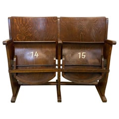 Vintage Two-Seat Cinema Bench from Ton, 1950s