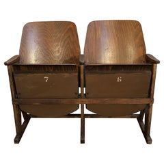 Vintage Two-Seat Cinema Bench from Ton, 1960s