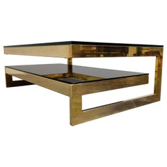 Vintage Two-Tier Belgochrom 23-Karat Coffee Table, 1970s