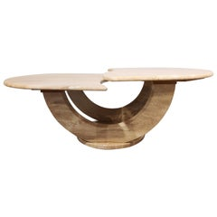Vintage Two Tier Travertine Coffee Table, 1970s