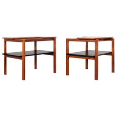 Vintage Two-Tiered Walnut Side Tables by Greta M. Grossman