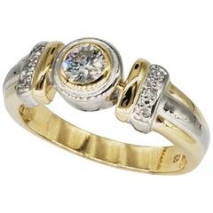 Vintage Two-Tone 0.30 Carat Diamond Bezel 18 Karat Gold Ring