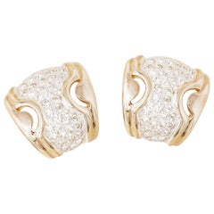 Vintage Two Tone Gilded Chunky Partial Hoop Earrings w Crystal Pavé by Panetta