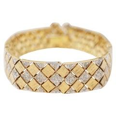 Vintage Two Tone Gilt Diamond Patterned Bracelet w Rhinestones by Panetta, 1970s